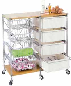 Multi-Purpose Cart with Wire Baskets & Canvas Drawer